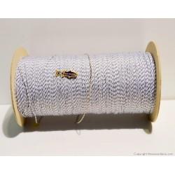 Trecciolina bianca spia nera mm.0.80 pes 100% ht -dyn- con anima.bobina metri  1000